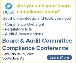 Get the knowledge and tools you need for compliance oversight, regulatory risk, and audit & investigations | Join us for the Board & Audit Committee Compliance Conference | Learn More >