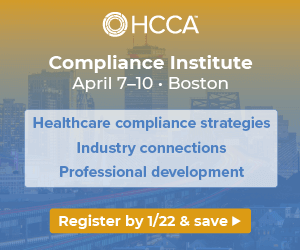 Compliance strategies, industry connections, professional development   Join us for the Compliance Institute   Register by Jan. 22 to save >